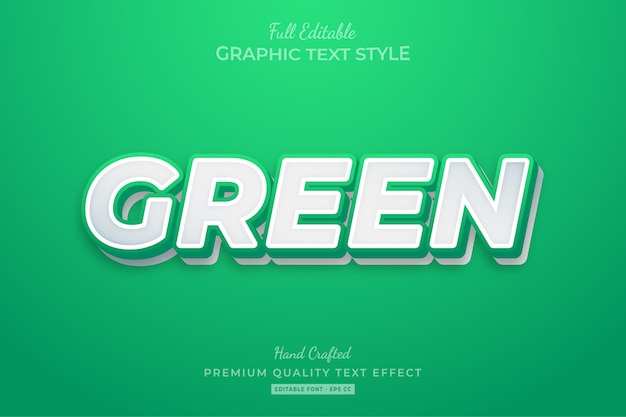 Green clean editable premium text style effect