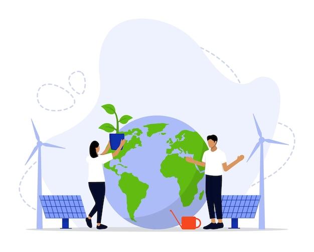 より良い未来のためのグリーンクリーンエネルギーコンセプト再生可能エネルギー
