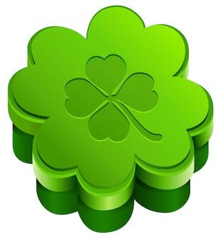 Green closed gift box shape of quatrefoil leaf clover. lucky clover leaves