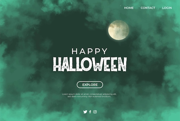 Green clouds and moon banner for haloween