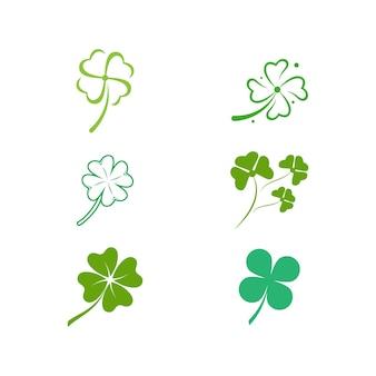 녹색 클로버 잎 아이콘 템플릿 디자인 벡터