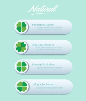 Green clover leaf info graphic vector