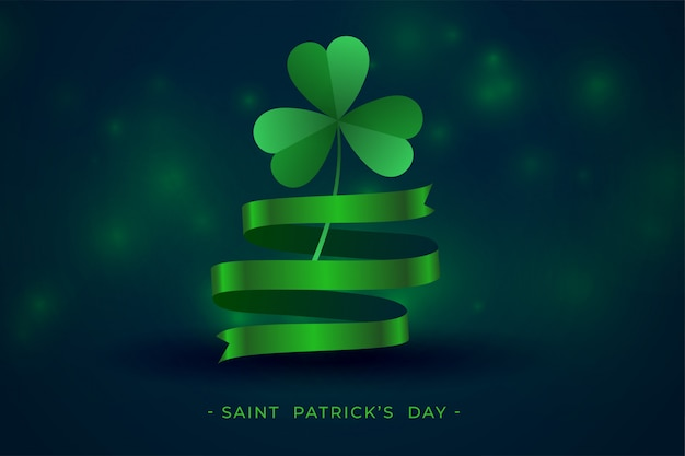 Green clover leaf with ribbon st patricks background