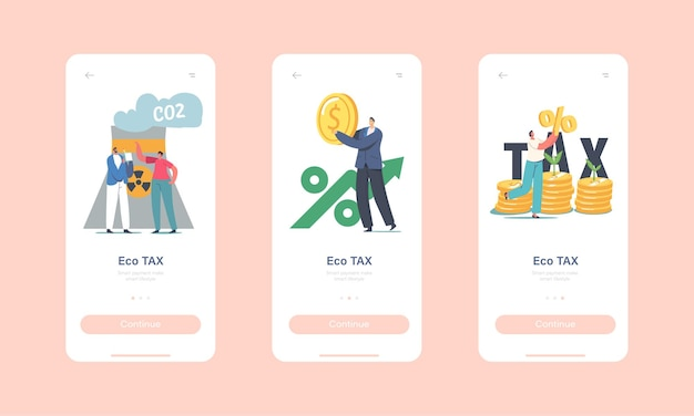 Green co2 tax mobile app page onboard screen template. tiny characters at huge coins piles with sprouts growing and factory pipe emitting smoke, taxation concept. cartoon people vector illustration
