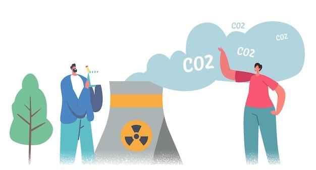 녹색 이산화탄소 세금 개념입니다. 독성 연기를 방출하는 공장 파이프의 남성과 여성 캐릭터. 자연 오염, 생태 보호 솔루션, 오염에 대한 과세. 만화 사람들 벡터 일러스트 레이 션