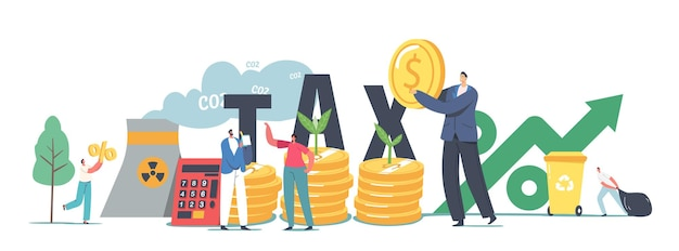 Green co2 taxes concept. tiny male and female characters at huge coins piles with sprouts growing and factory pipe emitting smoke. taxation for nature pollution. cartoon people vector illustration