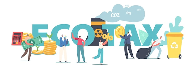 Green co2 taxes concept. tiny male and female characters at huge coins piles with sprouts growing and factory pipe emitting smoke, taxation poster banner flyer. cartoon people vector illustration