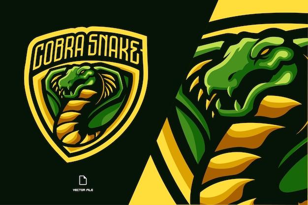 緑のコブラヘビのマスコットのロゴイラスト