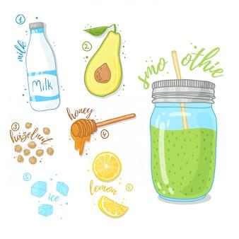 健康的な生活のための緑のカクテル。アボカド、牛乳、蜂蜜、ヘーゼルナッツのスムージー。ガラスの瓶にレシピフルーツのスムージー。