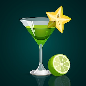 Green cocktail in glass of triangular shape and star fruit on brim with lime part on dark.
