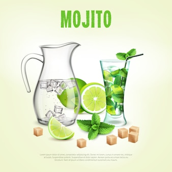 Green cocktails realistic poster