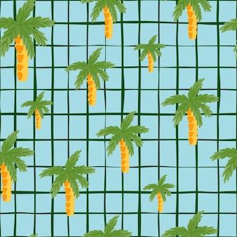 Зеленые кокосовые пальмы силуэты бесшовные каракули. синий клетчатый фон. произвольные тропические произведения искусства. предназначен для тканевого дизайна, текстильной печати, упаковки, обложки. векторная иллюстрация.