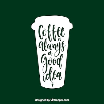 Green coffee concept with lettering