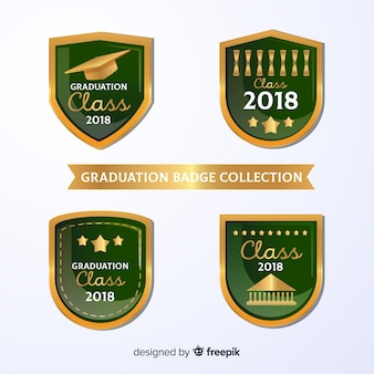 Green collection of graduation badges
