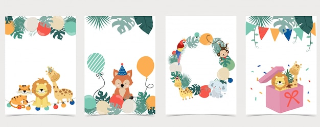 サル、キツネ、キリン、虎で設定されたサファリの背景の緑のコレクション。誕生日の招待状、はがき、ステッカーの編集可能なイラスト。