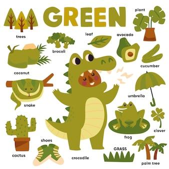 Зеленый цвет и набор слов на английском языке
