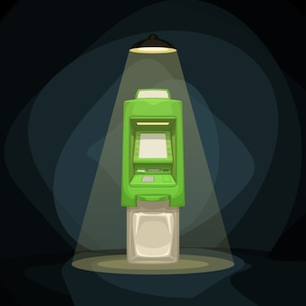 明るいアリの夜の緑色atm