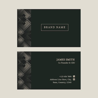 Green color business card template in front and back view.