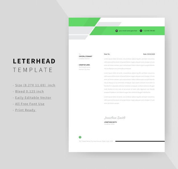 Green color business style letterhead template design