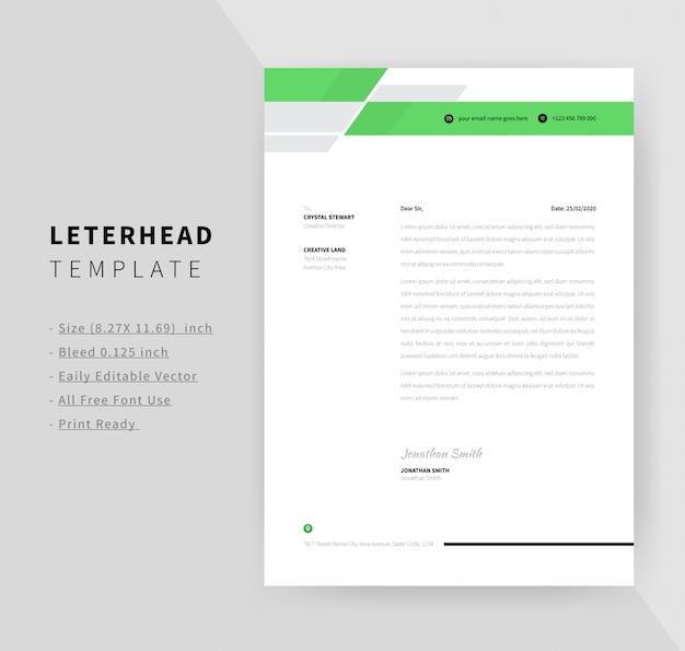 Green color business style letterhead template design