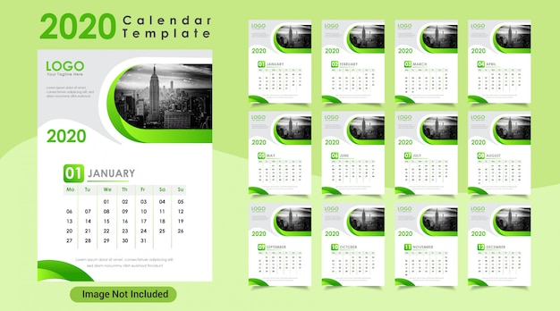 Green color new year 2020 wall calendar
