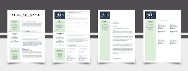 Green color resume template