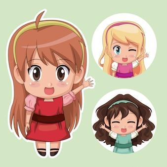Зеленый цвет набор мило аниме подростков девушка в платье с несколькими выражениями лица