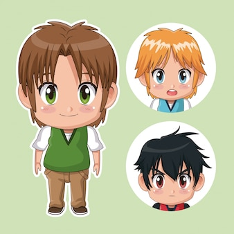 Green color set cute anime teenagers with facial expressions