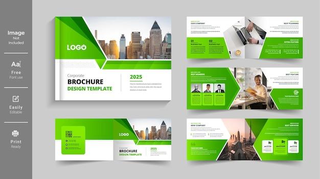 Green color shape multipage landscape brochure or company profile brochure design template