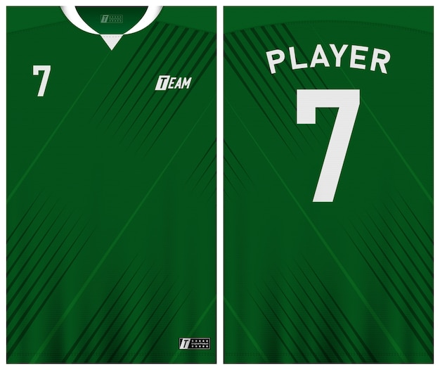Green color soccer jersey template