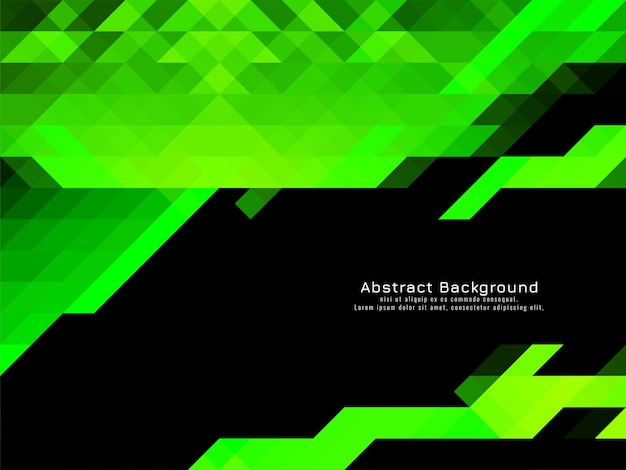Green color triangular mosaic pattern geometric background vector