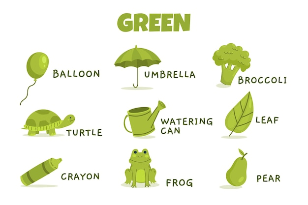 Green color with vocabulary pack in english