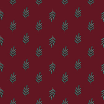 Green colored foliage ornament seamless pattern. doodle diagonal ornament with maroon background.
