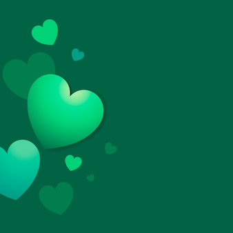 Green colored hearts background vector