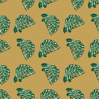 緑色のモンステラの葉の形はシームレスな落書きパターンです。ベージュの背景。落書きプリント。季節のテキスタイルプリント、ファブリック、バナー、背景、壁紙のベクトルイラスト。