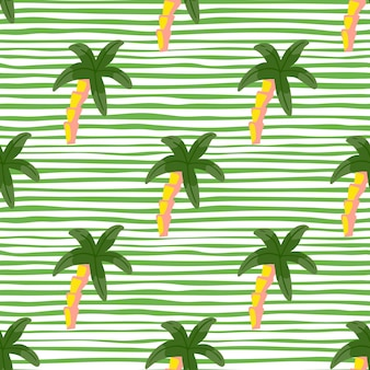 Green colored palm tree elements seamless doodle pattern. white and green striped background. designed for fabric design, textile print, wrapping, cover. vector illustration.