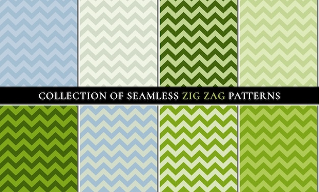 Green colors set of vector seamless zigzag chevron pattern background.