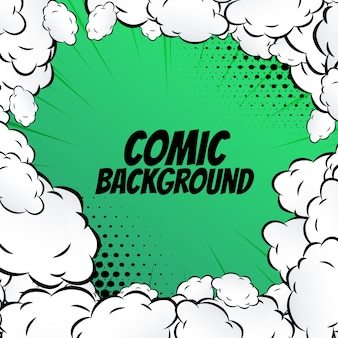 Green comic background with clouds