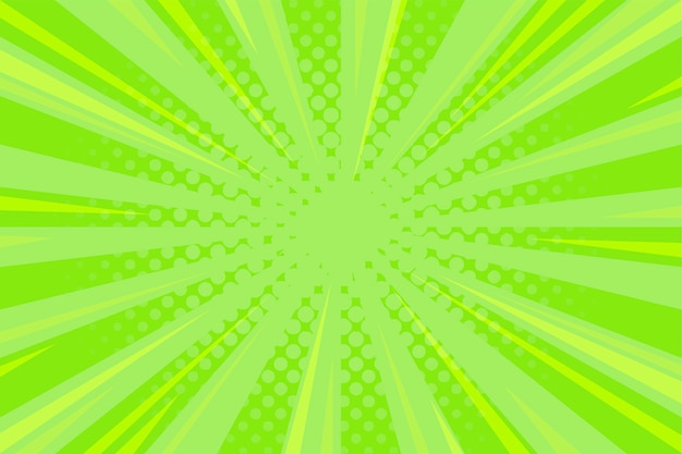 Green comic background with zoom lines and halftone