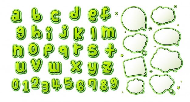 Green comics font. cartoonish children's alphabet and set of speech bubbles