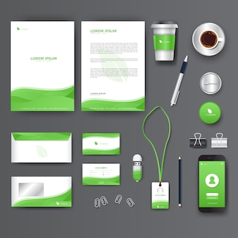 Green company stationary kit with business cards and letters