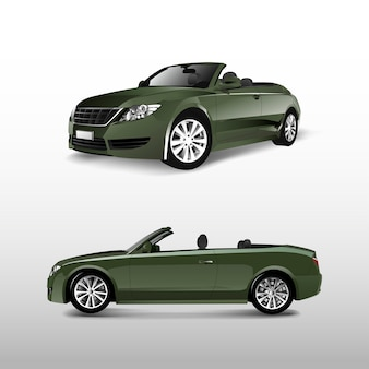 Green convertible car isolated on white vector