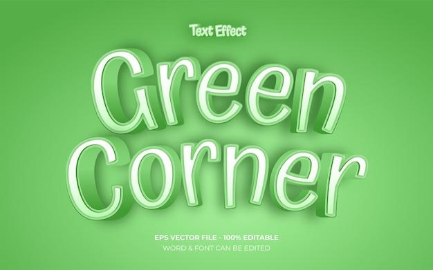 녹색 모서리 텍스트 효과 스타일 편집 가능한 텍스트 효과