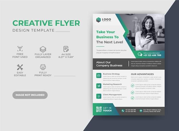 Green corporate business flyer design template