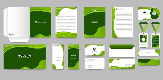 Green corporate identity design template