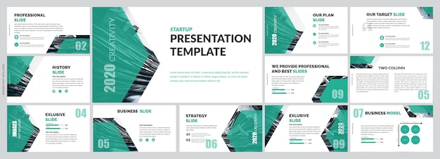 Green corporate presentation templates elements