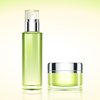 Green cosmetic containers set in 3d illustration