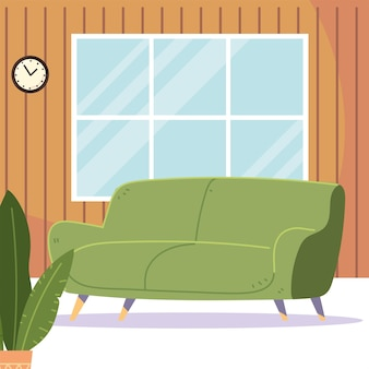 緑のソファの植物時計