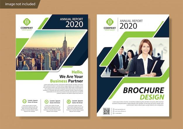 Листовка с зеленой обложкой и шаблон брошюры для годового отчета