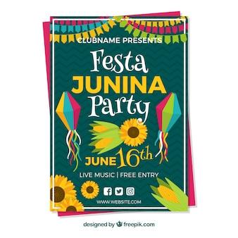 Green cover template for festa junina
